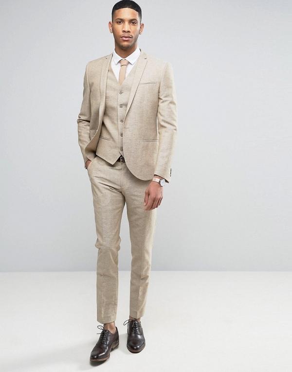 3 Piece Stone Linen Suit - Aisle Socie