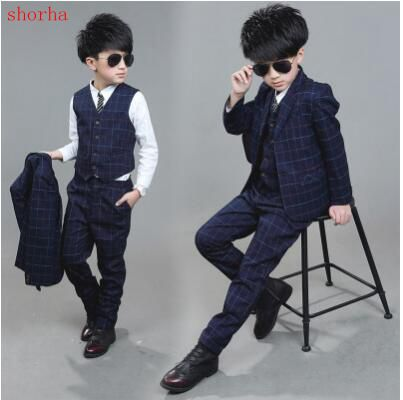 New 3 piece suit Boy blue fashion Costume autumn winterMariage .