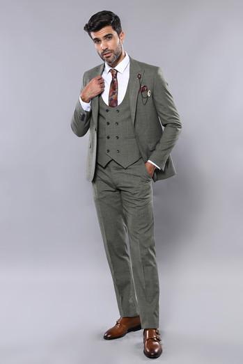 Green Plaid 3 Piece Suit l Clothing Suppli