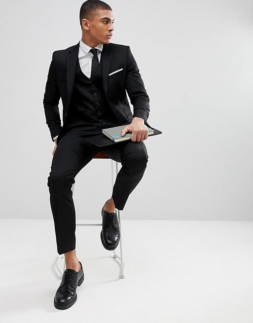 Moss London Skinny 3 piece suit in Black | AS