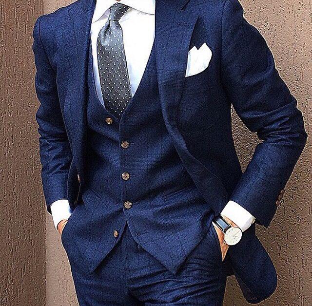 Fav! Windowpane blue 3 piece suit. | Mens outfits, Suit fashion .