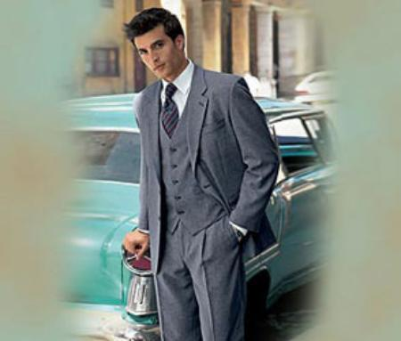 Medium Gray 3 Piece suit made from Superior fabric 150's W