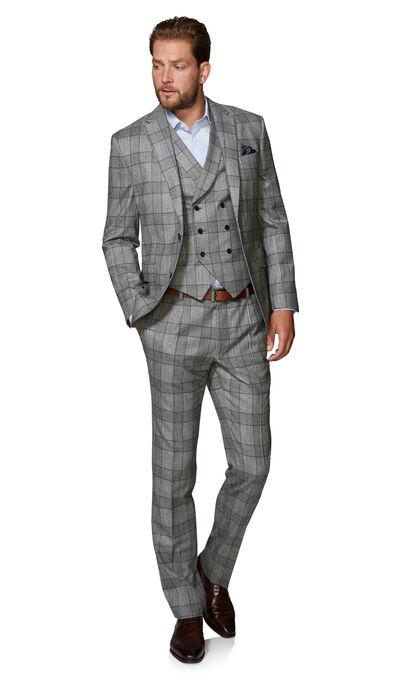 Moore Slim Fit 3 Piece Suit in Grey and Brown Glen Check Barberis .