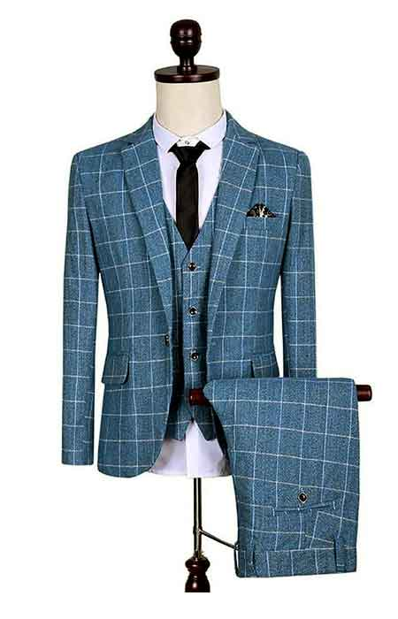 Checked Suits For Men - Blue 3 Piece Suit For Sa