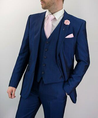 MENS CAVANI FORD BLUE 3 PIECE TAILORED FIT WEDDING SUIT FORMAL .