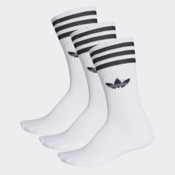 adidas Solid Crew Sock 3 Pairs - White | adidas