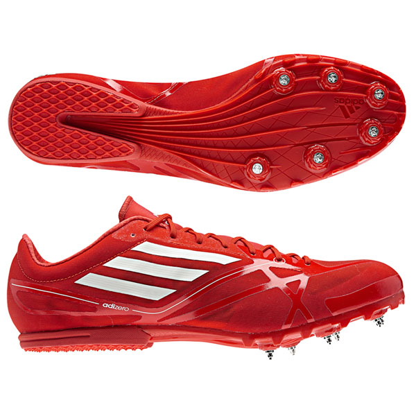 Adidas Adizero Md Shoes Athletics Red-White Jogging + Spikes New .