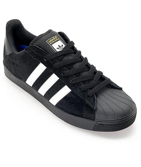adidas Superstar Vulc ADV Black Suede & White Shoes   Zumi