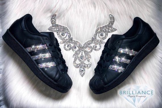 Adidas Superstar Womens Shoes Black With Black Stripes Customized .