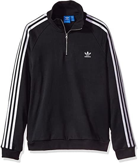 adidas Originals Women's Outerwear Half Zip Sweatshirt, Black, X .