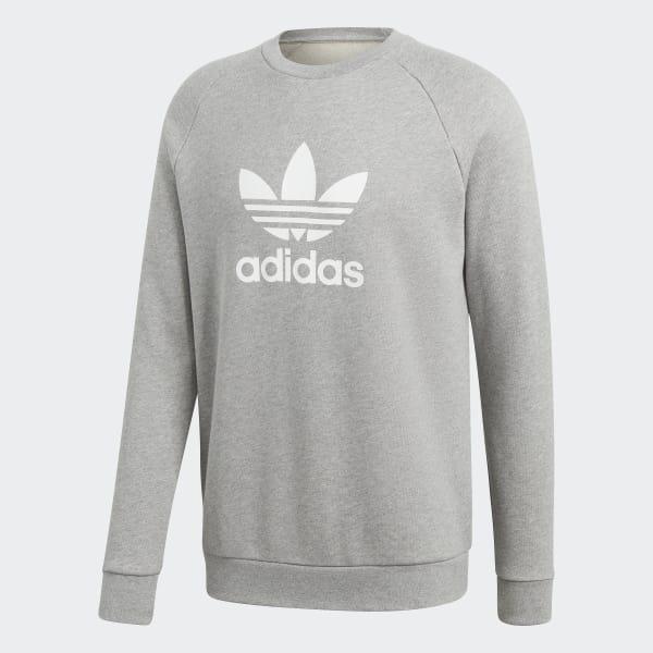 adidas Trefoil Warm-Up Crew Sweatshirt - Grey | adidas