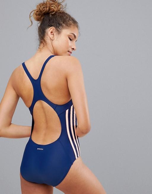 adidas Three Stripe Swimsuit In Blue | AS