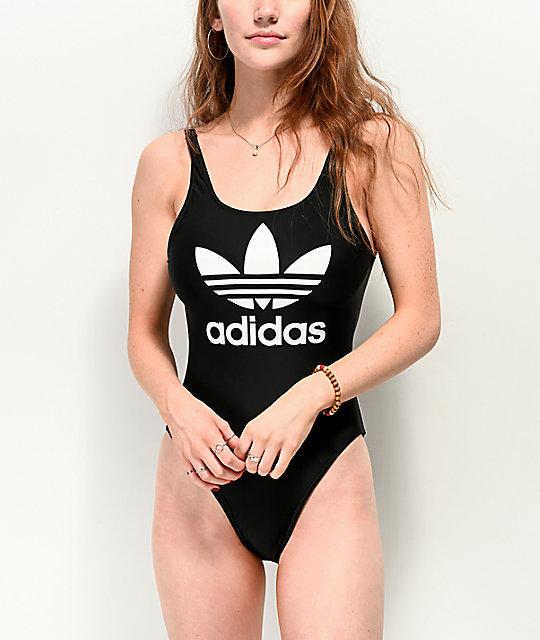 adidas Trefoil Black One Piece Swimsuit | Zumi