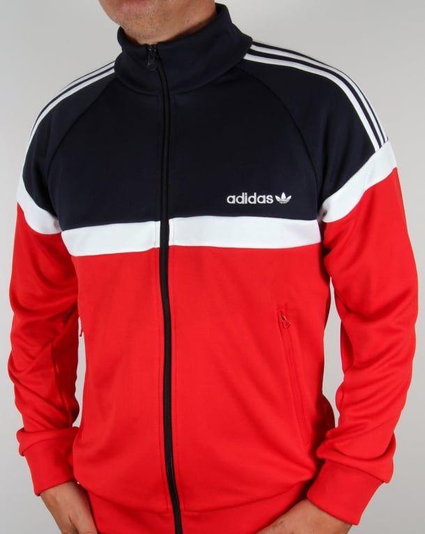 Adidas Originals Itasca Track Top Red/Navy | Adidas tracksuit mens .