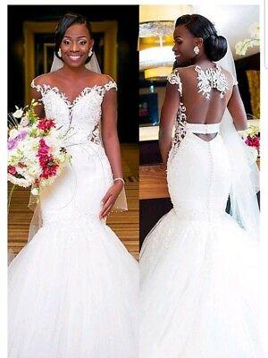 UK Lace White/Ivory Open Back Mermaid Bridal African Wedding .