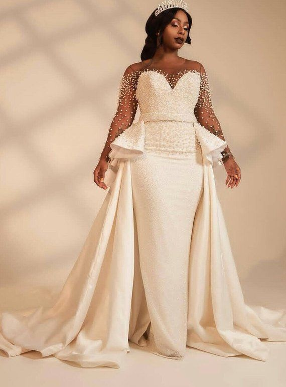 African white wedding dress with cape/African cape dress with side .