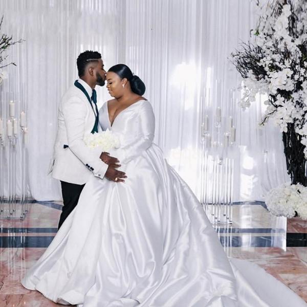 White Satin Long Sleeve Plus Size African Wedding Dresses Ball .