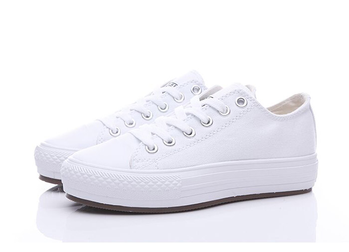 All White Converse Chuck Taylor All Star Women Platform Shoes .