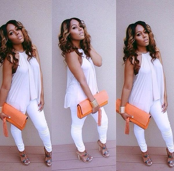 In black tho cus white dows not look good on my skin | All white .