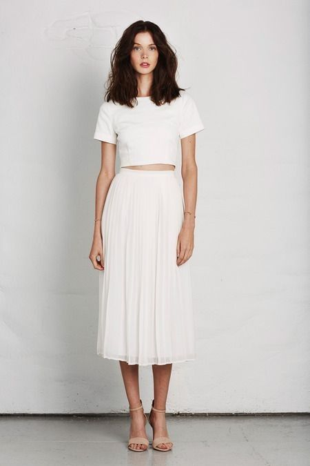 Minimal + Chic glamhere.com All white outfit. Midi skirt and short .
