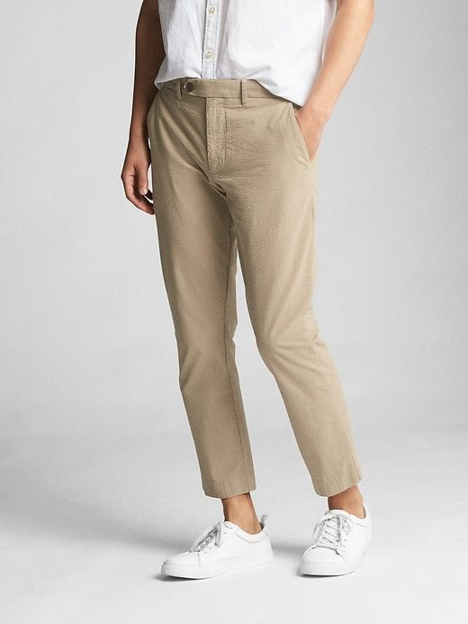 Gap Mens Seersucker Wader Ankle Pants In Slim Fit With Gapflex Kha