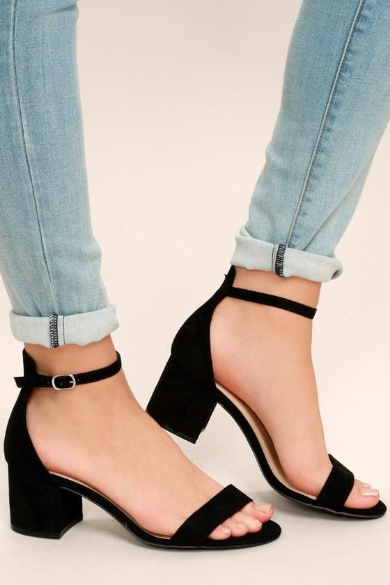 Chic Black Sandals - Single Sole Heels - Block Heel Sanda