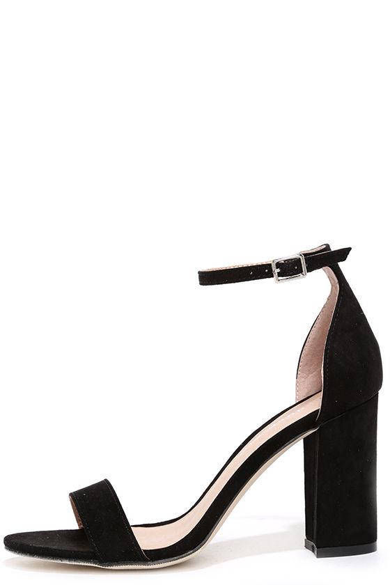 Cute Black Heels - Ankle Strap Heels - Black Shoes - $49.