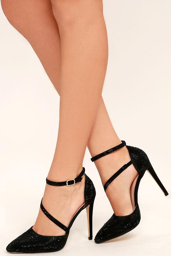 Stunning Black Rhinestone Heels - Black Ankle Strap Heels .