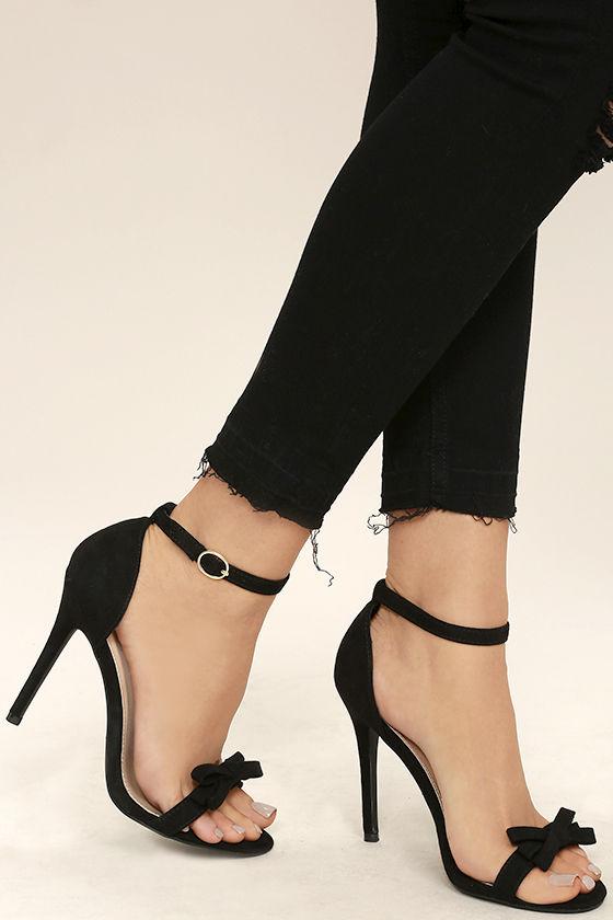 Cute Black Heels - Ankle Strap Heels - Vegan Suede Dress Sandals .