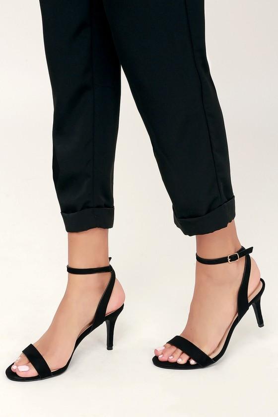Cute Black Heels - Black Ankle Strap Heels - Black Mid-Low Hee