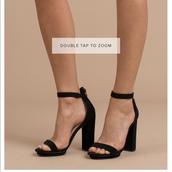 Tobi Shoes   Black Block Heel Ankle Strap Heels From Toni   Poshma