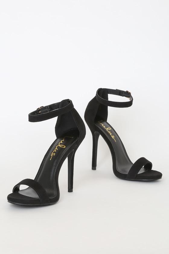 Single Strap Heel - Ankle Strap Heels - Black Heels - $29.