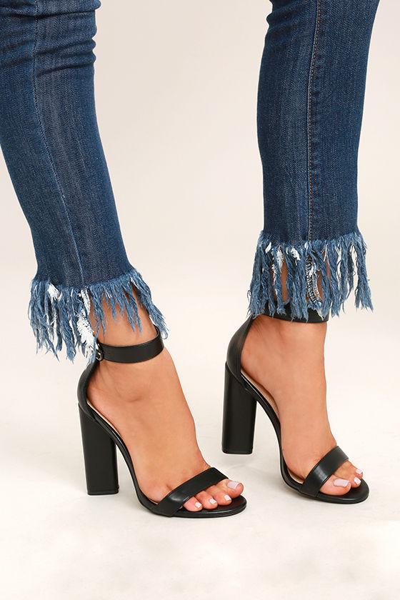 Chic Black Heels - Black Ankle Strap Heels - Single Sole Heels .
