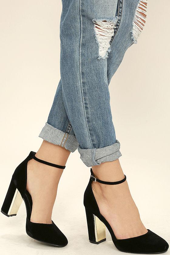 Chic Black Velvet Heels - Ankle Strap Heels - Block Hee