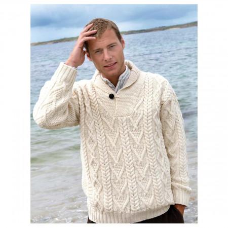 100% Merino Wool Aran Shawl Collar Aran Sweater, Natural Colo