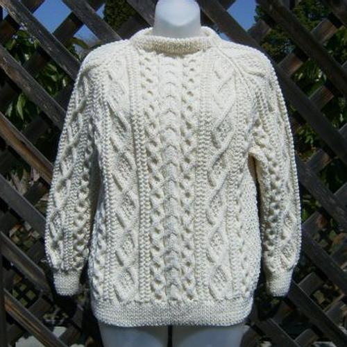 Handknit aran sweater for men or women | PurplePup on ArtFi