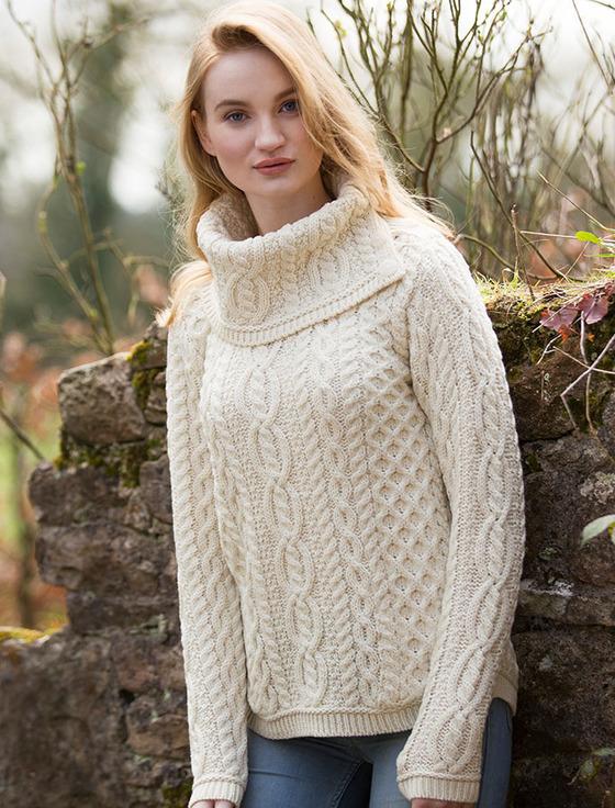 Cowl Button Neck Aran Sweater | Aran Sweater Mark