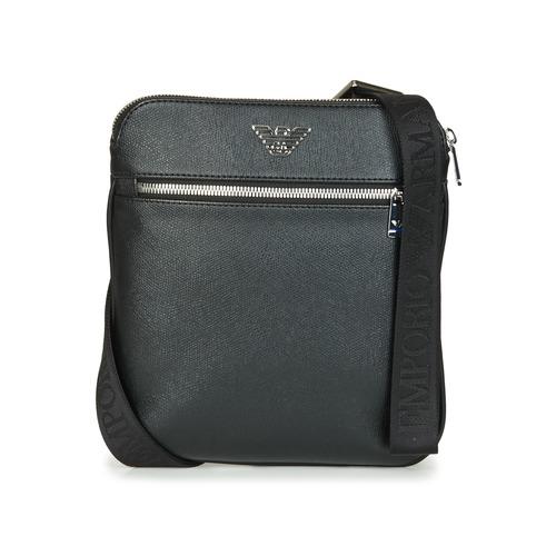 Emporio Armani BUSINESS FLAT MESSENGER BAG Black - Free delivery .