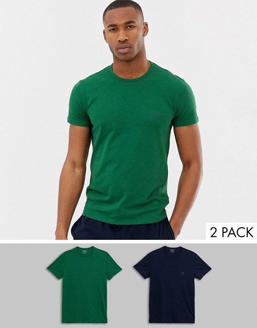 Emporio Armani 2 pack eagle logo lounge t-shirts in navy/green   AS