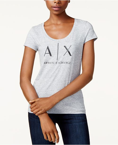 Armani Exchange Logo Graphic T-Shirt & Reviews - Tops - Women - Macy