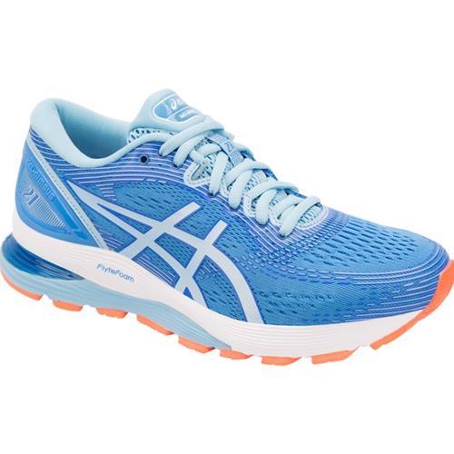 Asics Gel Nimbus 21 Women's Running Shoe Wide D Blue Coast .