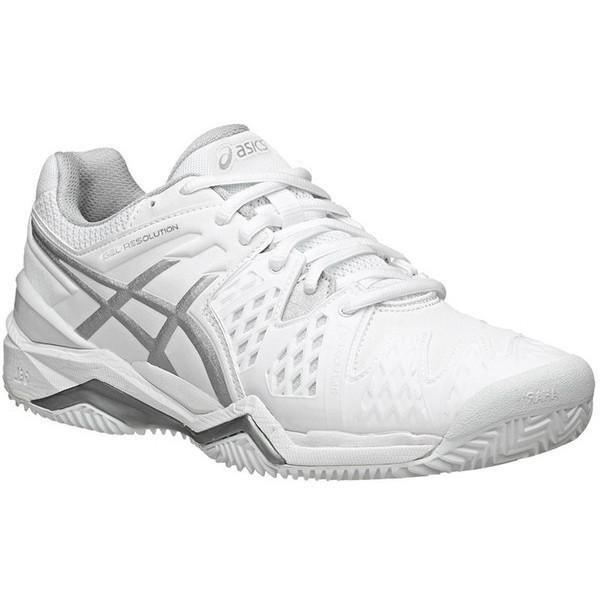 ASICS Women's Gel Resolution 6 Tennis Shoes White/Silver E550Y .