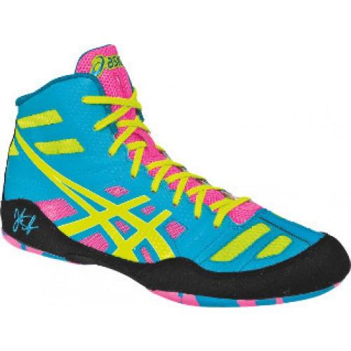 Asics JB Elite Adult Wrestling Shoes teal-yellow-pink - Asics .