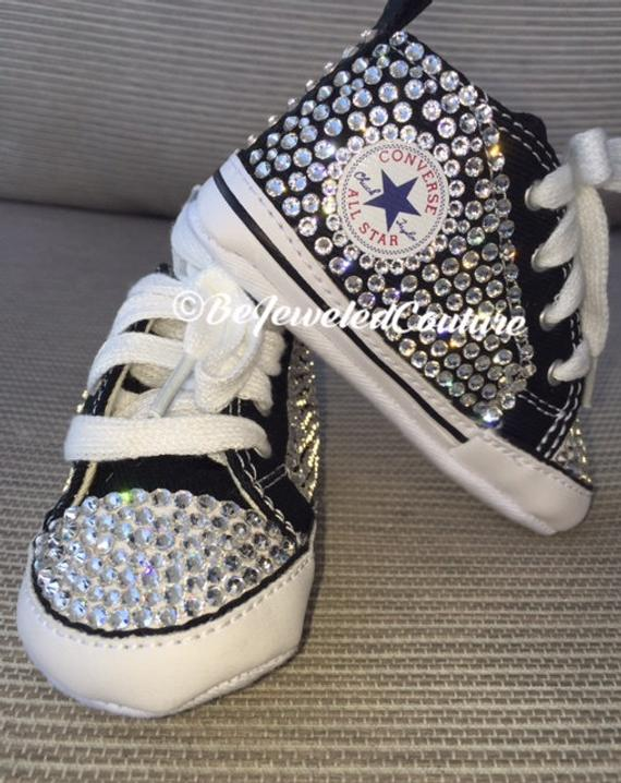 Swarovski crystal baby girl converse shoes black bling baby | Et