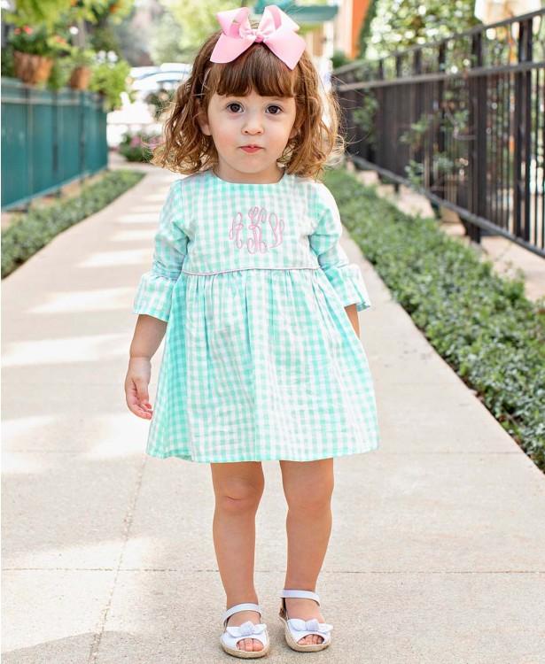 Ice Blue Gingham Dress | Girls Babydoll Dress | RuffleBut