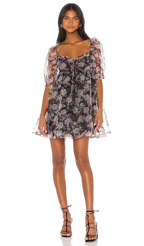 For Love & Lemons Faye Baby Doll Dress in Black Floral | REVOL