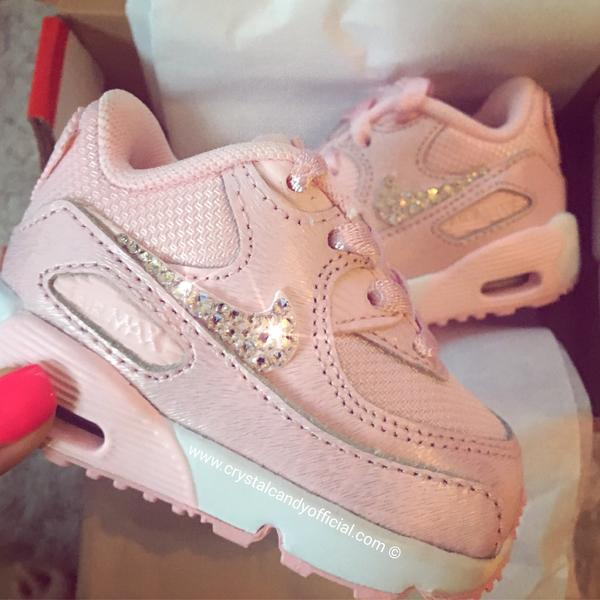 Crystal Kids/Baby Pink Nike Air Max 90's - Crystal Candy Limit