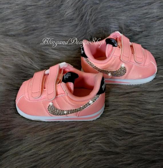 Swarovski Girls Baby Nike Cortez Pink Sneakers Customized with | Et