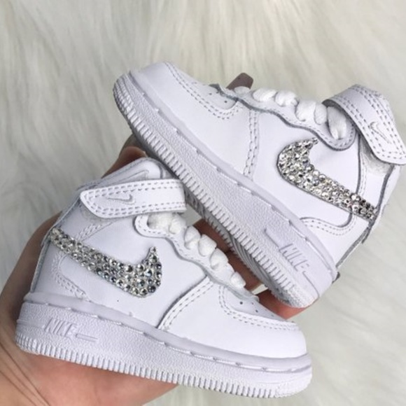 Nike Shoes | Bling S Baby Toddler Air Force1 Swarovski | Poshma
