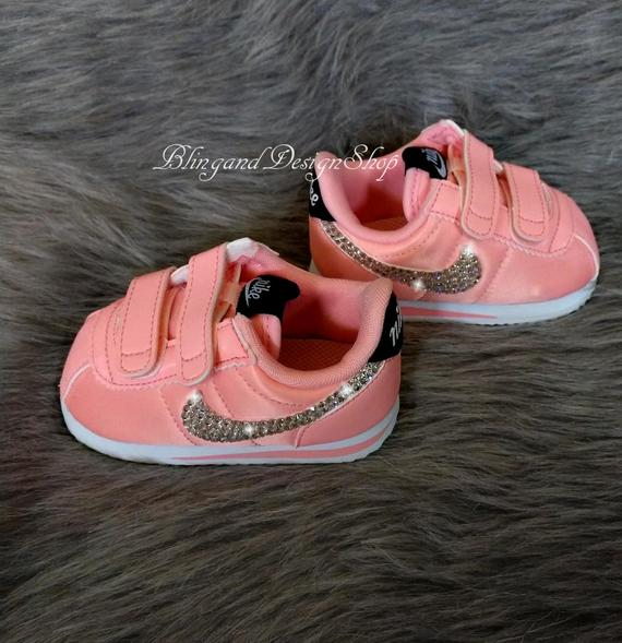 Swarovski Girls Baby Nike Cortez Pink Sneakers Customized with | Et